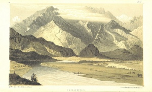 Ilustración con el Himlaya de fondo