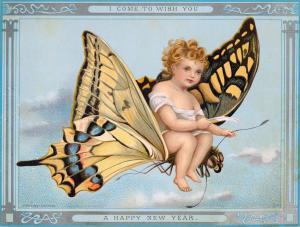 Postal: Angelet volant en una papallona