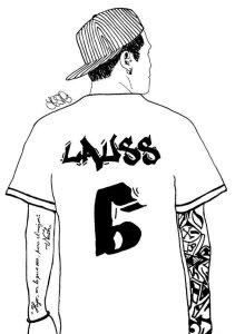 Mi tormenta. Ilustración con la camiseta deportiva con el número 6 y el texto: Lauss