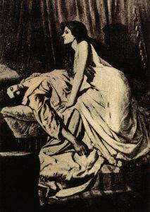 Ilustración en blanco y negro que muestra una vampiresa y un hombre tendido en el lecho