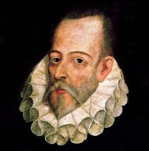 Pintura con el rostro de Cervantes