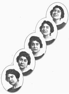 Secuencia fotográfica de Margarita Xirgu Subirá, 1911, La Esfera, 1914. Se muestran 5 fotografías en blanco y negro con diferentes gestos de la actriz