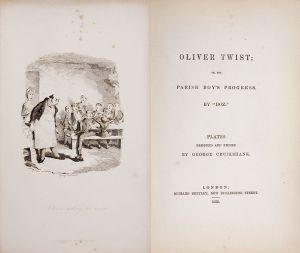 Oliver Twist, cubierta de la primera edición. Se muestra el texto con el título y una ilustración en blanco y negro